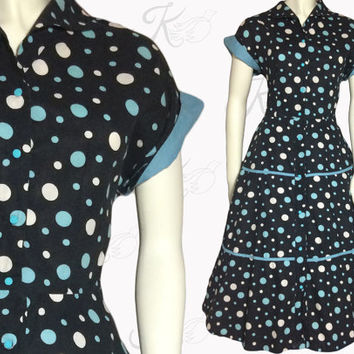 Vintage 50s Dress, 1950s Dress, Bubble Print Dress, Polka Dot Dress, 1950s Large Dress, Pinup Dress, 50s Day Dress, Fifties Dress