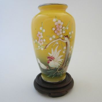 Yellow Porcelain Painted Rooster Flower Vase  W Japanese Cherry Blossoms
