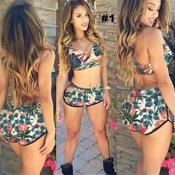 Womens Cool Print Stylish Halter Bikini Swimsuit