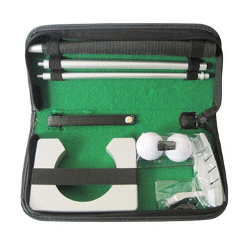 Portable Travel Indoor Golf Putting Practice Kit Ball Putter Training Set Golf Tranning Aids Tool with Carry Case