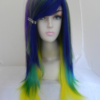ON SALE / Tropical Treasure / Purple, Blue, Green, Yellow / Long Straight Layered Wig