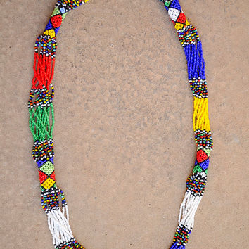 African multistrand necklace,Beaded African necklace,Tribal necklace,Ethnic jewellery,African beaded accessories,South African jewellery