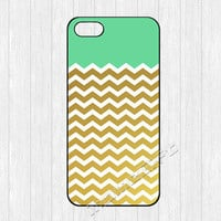 Gold Chevron iPhone 5 Case,Mint Green Golden Chevron iPhone 5 5s Case,Hard cover skin for iphone 5/5s case,More styles for you choose