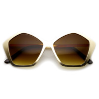 Trendy Oversize Fashion Metal Hexagon Frame Sunglasses 9223