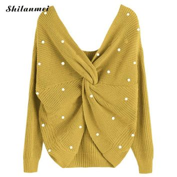 Sexy Deep V Neck Loose Woman's Sweater Long Sleeve With Plastic Pearl Irregular Backless Knitted Jumpers Female Pullovers