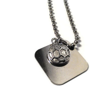 Soccer Football Necklace Futbol Sports Ball Charm Pendant Custom Stamped Engraved Women Men Unisex Silver Metal Rugby Player Gift Birthday