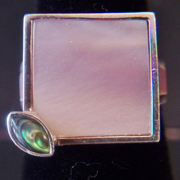 Vintage Pink Square Shell Ring 925 Sterling Silver Mother of Pearl Abalone Geometric Jewelry Retro Fashion Accessories For Her