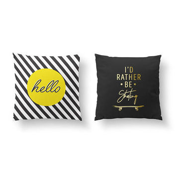 SET of 2 Pillows, I'd Rather Be Skating, Gold Pillow, Hello Pillow, Bed Pillow, Teen Decor, Throw Pillow, Cushion Cover, Teen Boy Bedroom