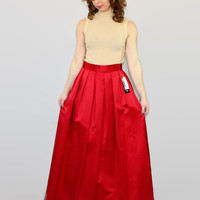 80s red maxi ball skirt. NWT Hampton Nights skirt. Brand new. Long occasion skirt. Pleated skirt. Size 10. Made in USA