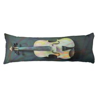 Cool Cute Pastel Violin Dark Gray Jewel Tone Body Pillow