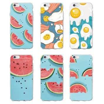 Food Fruit Watermelon Egg Lemon Banana Cactus Strawberry Sushi Phone Case fundas For iPhone5 6 6Plus XS Max 7 7Plus 8 8Plus X