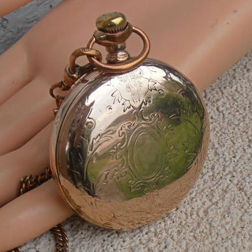 "Victorian Pocket Watch Case, Wadsworth Rose Gold Filled, Simmons Chain, Large 2"", Use as Locket"