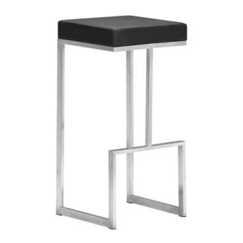 Darwen Barstool Black Brushed Stainless Steel (Set of 2)