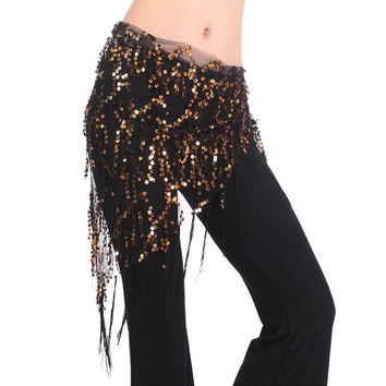 New Women Belly Dance Triangle Hand Make Sequin Tassles Mesh Hip Scarf Wrap 9 ColorsSM6