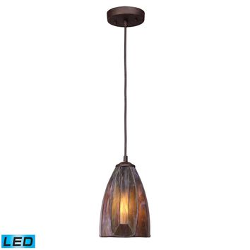 70046-1-LED Dimensions 1 Light LED Pendant In Burnished Copper And Tea Stained Glass