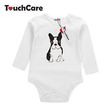 Infant Cute Cartoon Animal Bulldog Printed Baby Boys Girls Rompers Newborn Soft Cotton Kids Jumpsuit Long Sleeve Toddler Clothes