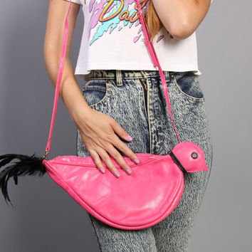 80s Novelty BIRD PURSE / Hot Pink Leather with Real Black Feathers Converts to Clutch