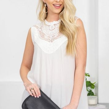 Lace Mock Neck Sleeveless Top | White