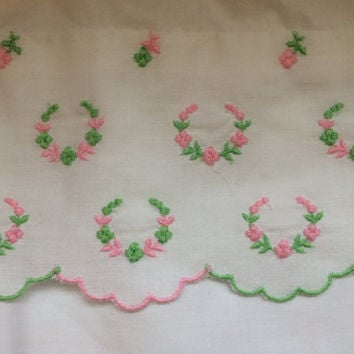 Hand Embroidered Antique Pillow Case Pink and Green Standard Size Shabby Chic