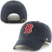 Boston Red Sox '47 Brand Cooperstown Collection Basic Logo Cleanup Adjustable Hat - Navy Blue