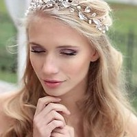 Bridal Crystals Pearls Tiara Hair Vine Headband Crown  Bridal Hair piece
