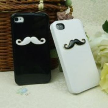 Cool Stuff - Two pieces 3D Chaplin mustache Case Cover Shell For iPhone 4 4S 4GS lovers & couple HZ