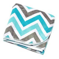 "Aqua & Keystone Chevron Zig Zag - 30"" X 30"" - Lil' Whippersnapper Brand Dual-Touch Ultra-Plush Baby Blanket - Perfect for Swaddling, the Stroller, & Around the House (blue, grey, white, aqua, ultra-plush, super)"