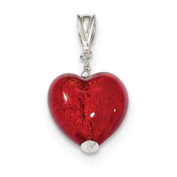925 Sterling Silver Gold and Ruby Murano 12mm Glass Heart Shaped Pendant