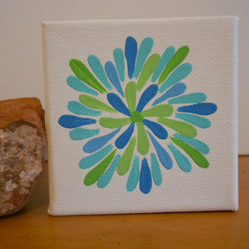 Painting Aqua Flower Aboriginal Inspired by Acires on Etsy