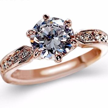 Austrian Crystal Ring (Band in Rose Gold & Silver)
