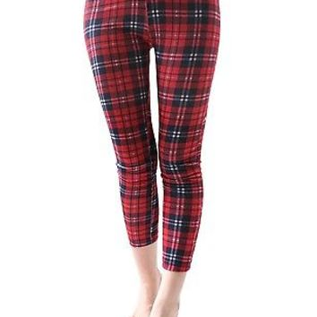 RTBU Punk Rocker Red Tartan Plaid Cigarette Ankle Cropped Cotton Warm Leggings