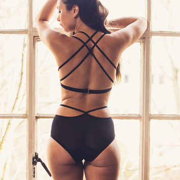 Rachel Black Strappy Mesh Bra & Brief Set  - Lingerie / Underwear Made to Order