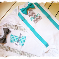 Twin Boys 1st Birthday Outfit-Birthday Outfit with Suspenders and Bow Tie-Cake Smash Outfit