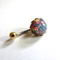 Pink Fire Opal Belly Button Jewelry Ring Stud Navel Piercing Galaxy Stone Bar Barbell Bellyring Brass Gold Setting Azeetadesigns