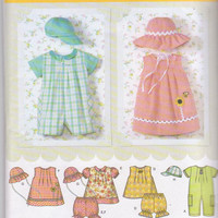 Outfits for baby boys and girls romper dress bloomer hat size newborn 3 months 6 months 12 months 18 months Simplicity 4243 CUT and COMPLETE