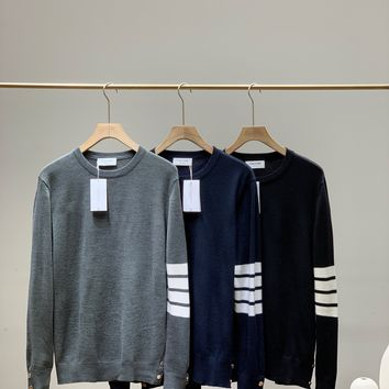 """Thom Browne"" Men Wool Fashion Casual Stripe Solid Color Logo Long Sleeve Round Neck Knitwear Sweater"