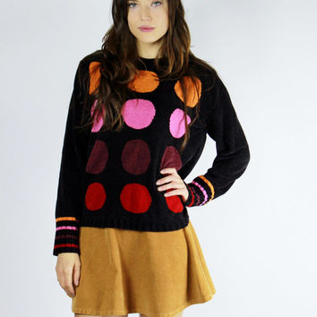 black polka dot sweater geometric shape MEDIUM M fuzzy jumper color block