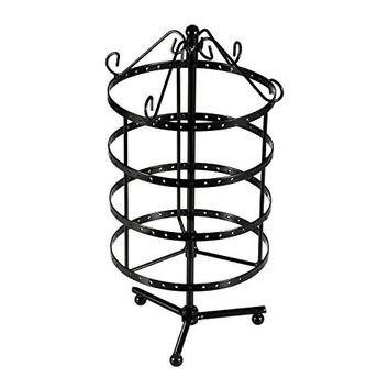 Ollieroo® 4 Tiers Rotating Spin Table Top 72 Pairs Earring Holder Organizer Stand Jewelry Stand Display Rack Towers (Black)