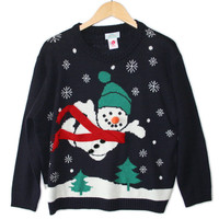 Superman Snowman Tacky Ugly Christmas Sweater