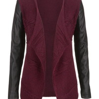 Faux Leather Sleeve Open Front Cardigan - Red