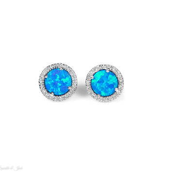 Bright Blue Opal and White CZ Round Halo Stud Earrings