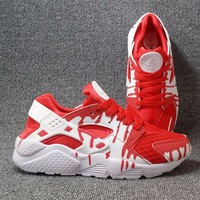 Best Online Sale Nike Air Huarache 1 Run Rainbow Ultra Breathe Men Red drip Running Sport Casual Shoes Sneakers - 911
