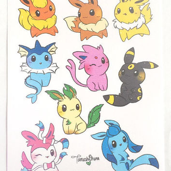 Eeveelution Stickers - Pokemon Stickers, Kawaii Stickers, Chibi Pokemon, Chibi Stickers, Sticker Set, Cute Stickers