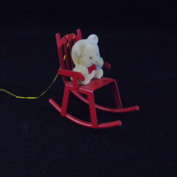 Flocked Teddy Bear On Red Metal Rocking Chair Vintage Christmas Tree Ornament