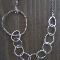 Abstract Silver Hoop Necklace, Hammered Silver Necklace, Recycled Silver