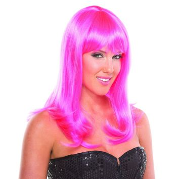 Hot Pink Solid Color Hollywood Bangs Wig