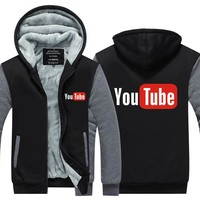 2017 Funny Youtube Logo Printed Hoodies Men You Tube Men Jacket Luxury Brand Thicken Zipper Tops Plus size