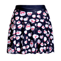 Red Eyed Skulls Pleated Skater Skirt