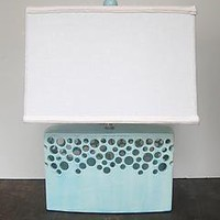 Lacey Brick in Ocean: Lawrence McRae: Ceramic Table Lamp - Artful Home