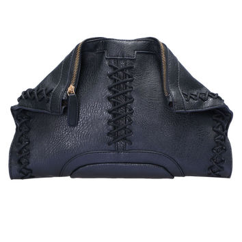 Black Rivet Metal Buckle Shoulder Bag